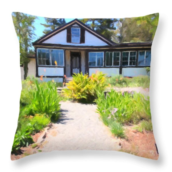 Jack London Countryside Cottage And Garden 5D24565 long Throw Pillow by Wingsdomain Art and Photography