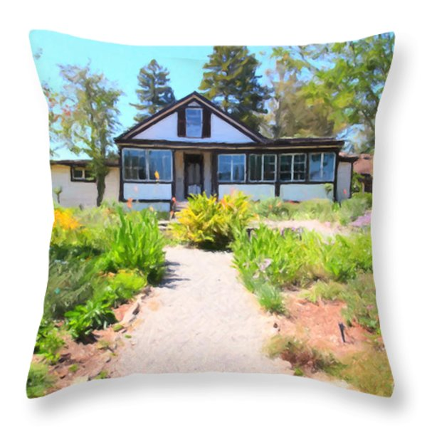 Jack London Countryside Cottage And Garden 5d24565 Throw Pillow by Wingsdomain Art and Photography