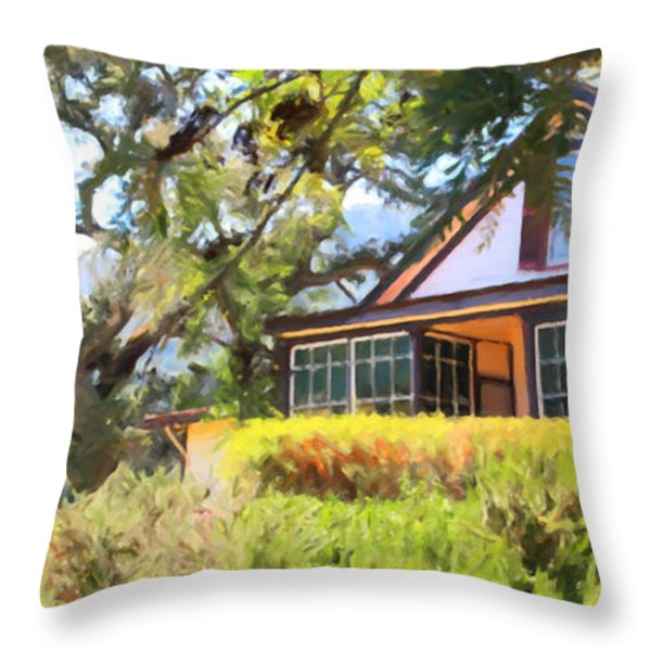 Jack London Countryside Cottage And Garden 5D24570 long Throw Pillow by Wingsdomain Art and Photography