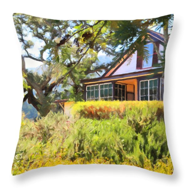Jack London Countryside Cottage And Garden 5D24570 Throw Pillow by Wingsdomain Art and Photography