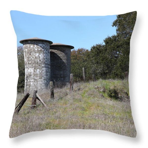 Jack London Ranch Silos 5D22146 Throw Pillow by Wingsdomain Art and Photography