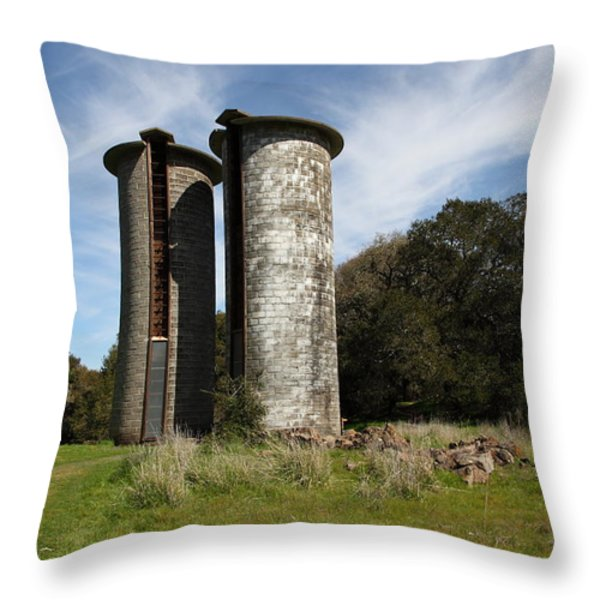 Jack London Ranch Silos 5D22161 Throw Pillow by Wingsdomain Art and Photography