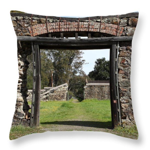 Jack London Ranch Winery Ruins 5d22128 Throw Pillow by Wingsdomain Art and Photography