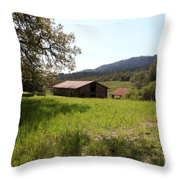 Jack London Stallion Barn 5D22056 Throw Pillow by Wingsdomain Art and Photography