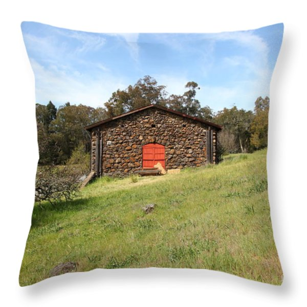 Jack London Stallion Barn 5D22100 Throw Pillow by Wingsdomain Art and Photography