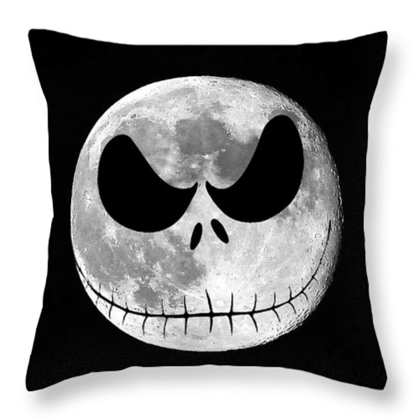 Jack Skellington Moon Throw Pillow by Al Powell Photography USA