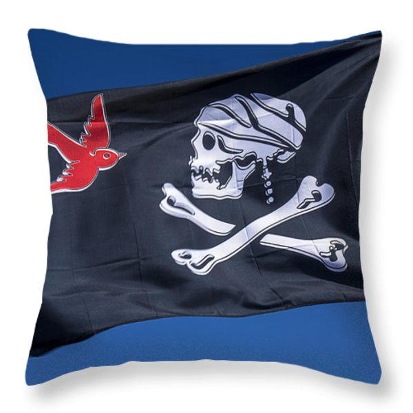 Jack Sparrow Pirate Skull Flag Throw Pillow by Garry Gay