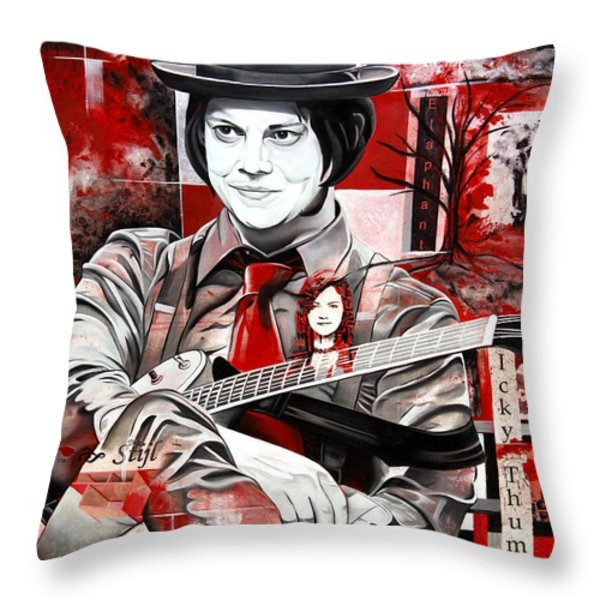 Jack White Throw Pillow by Joshua Morton