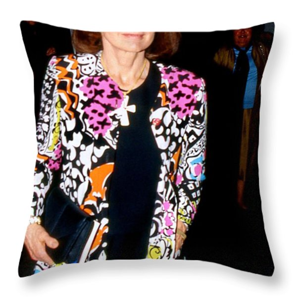 Jackie Kennedy Onassis 1990 Throw Pillow by Ed Weidman