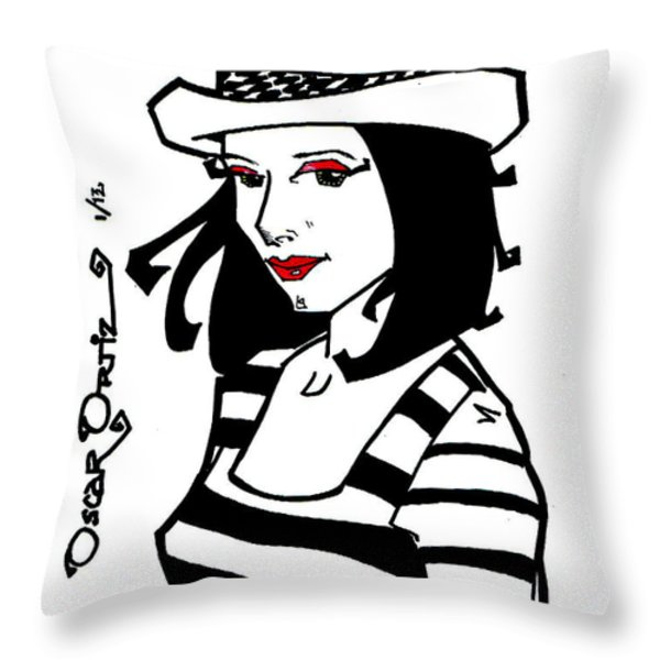 Jackie Throw Pillow by Oscar Ortiz