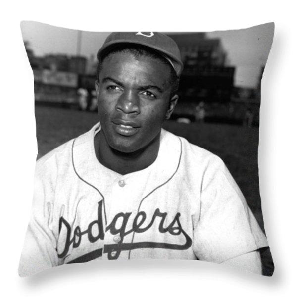 Jackie Robinson Portrait Throw Pillow by Gianfranco Weiss