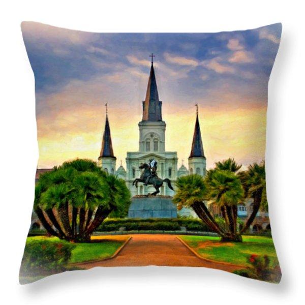 Jackson Square Evening Vignette Throw Pillow by Steve Harrington