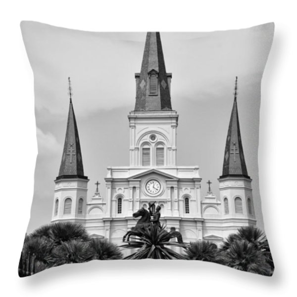 Jackson Square In Black And White Throw Pillow by Bill Cannon