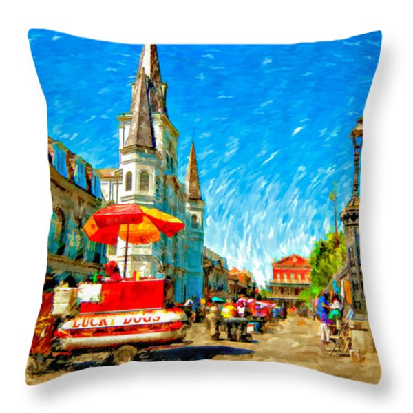 Jackson Square painted version Throw Pillow by Steve Harrington