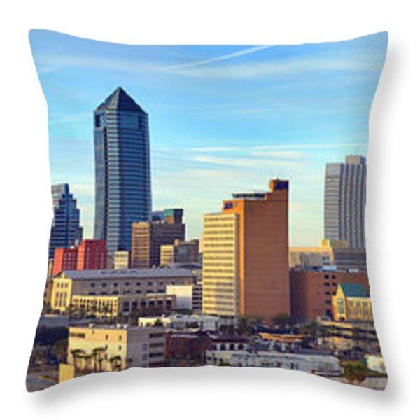 Jacksonville Skyline Morning Day Color Panorama Florida Throw Pillow by Jon Holiday