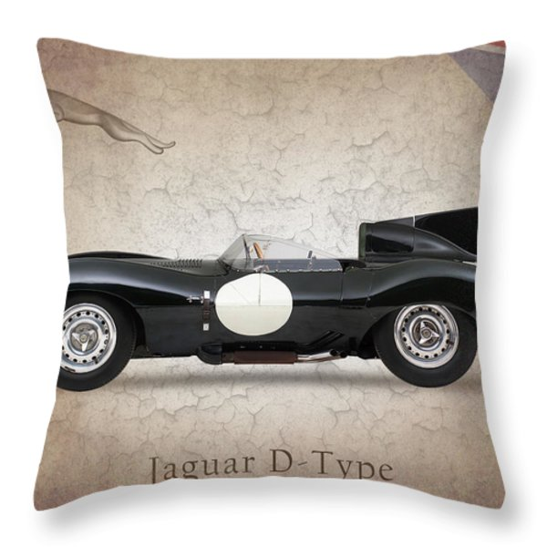 Jaguar D-Type Throw Pillow by Mark Rogan