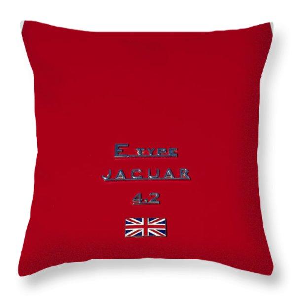 Jaguar E-type 4.2 Emblem 3 Throw Pillow by Jill Reger