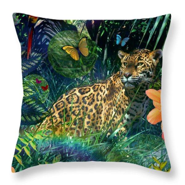 Jaguar Meadow Throw Pillow by Alixandra Mullins