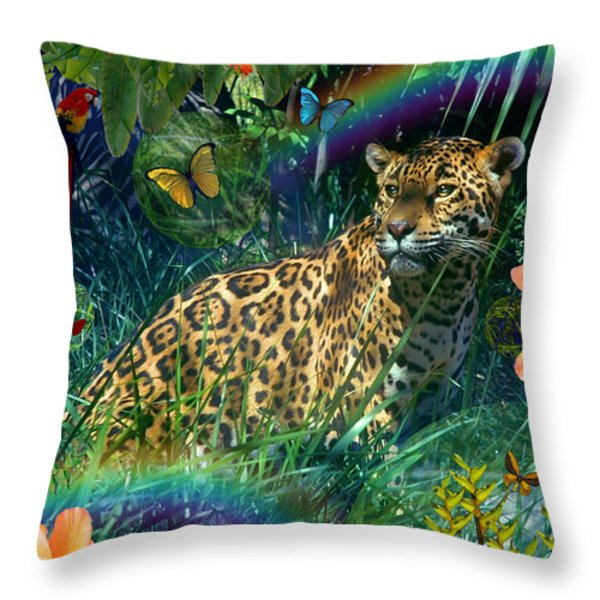 Jaguar Meadow  Variant 1 Throw Pillow by Alixandra Mullins