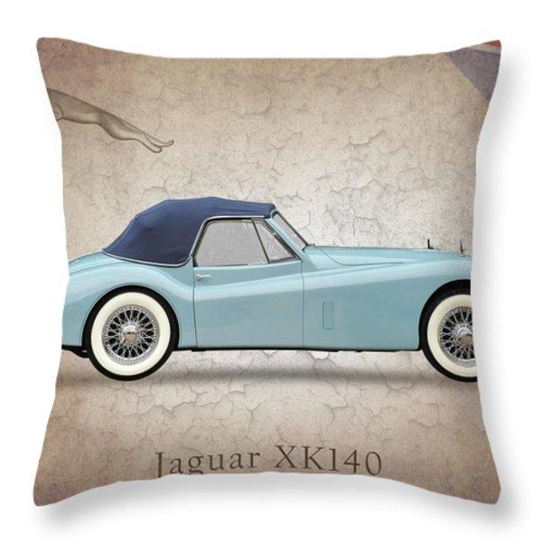 Jaguar XK140 Throw Pillow by Mark Rogan