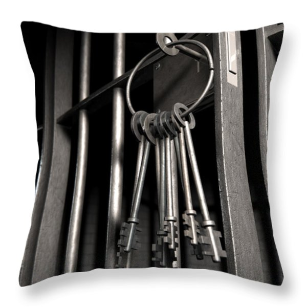 Jail Cell With Open Door And Bunch Of Keys Throw Pillow by Allan Swart