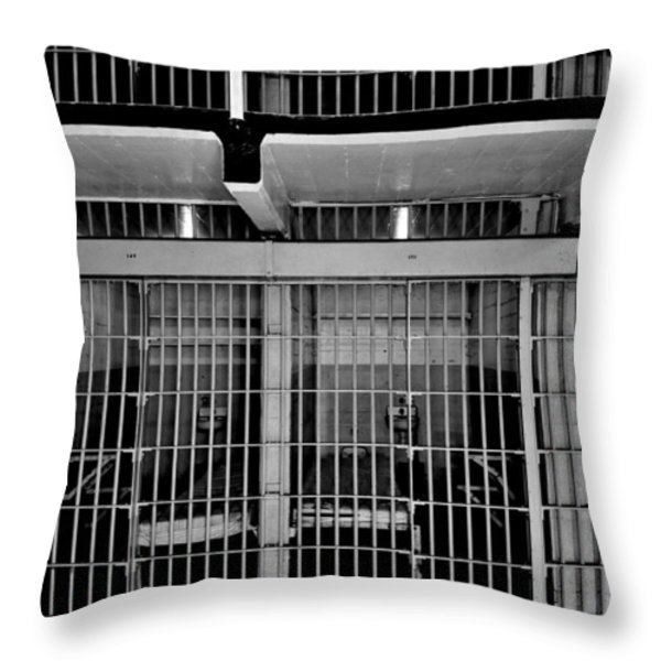 Jail Cells Throw Pillow by Benjamin Yeager