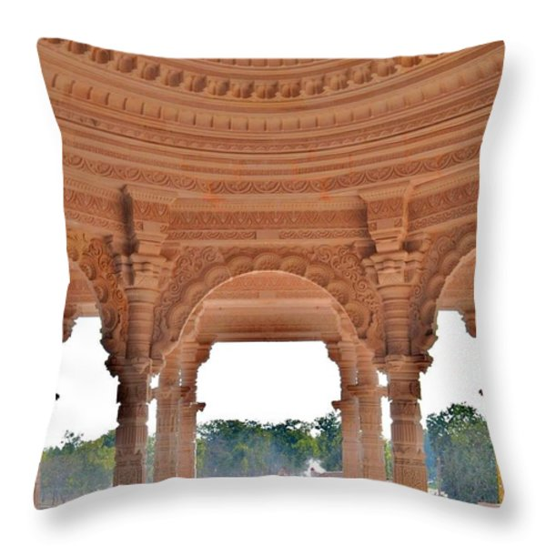 Jain Temple Entrance - Amarkantak India Throw Pillow by Kim Bemis