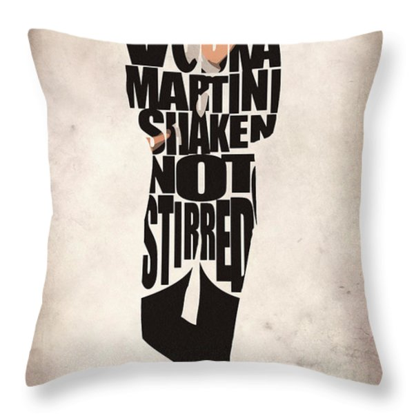 James Bond Throw Pillow by Ayse Deniz