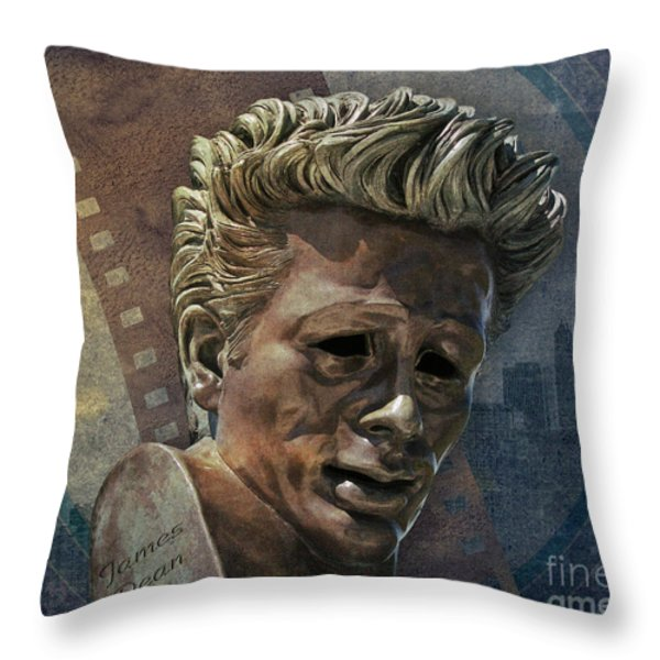 James Dean Throw Pillow by Bedros Awak