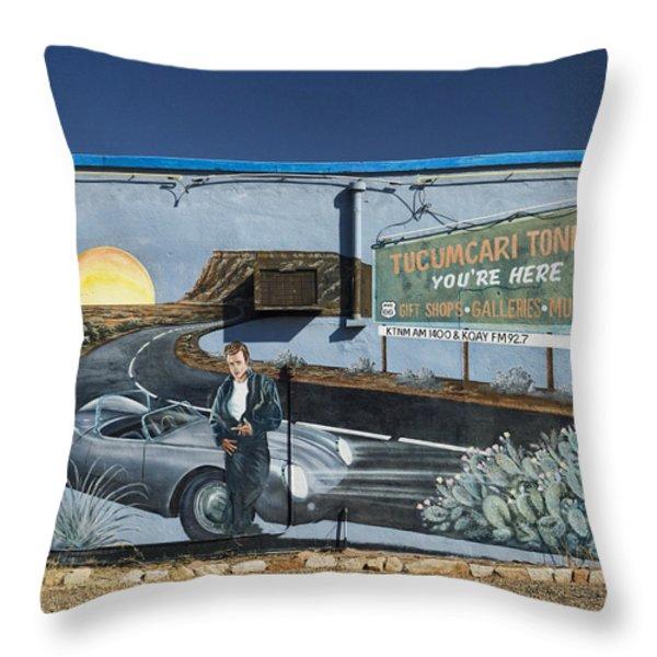 James Dean Mural in Tucumcari on Route 66 Throw Pillow by Carol Leigh