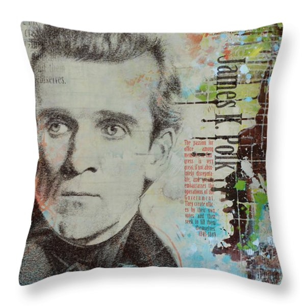 James K. Polk Throw Pillow by Corporate Art Task Force