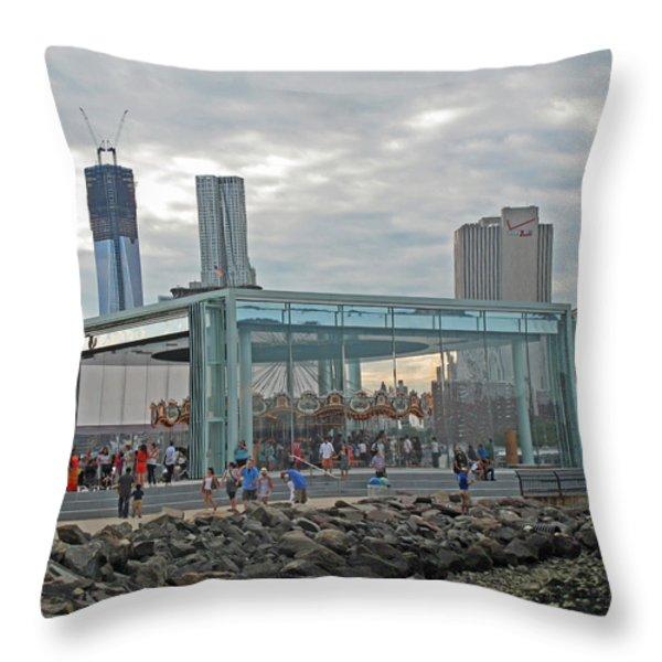 Jane's Carousel Throw Pillow by Barbara McDevitt