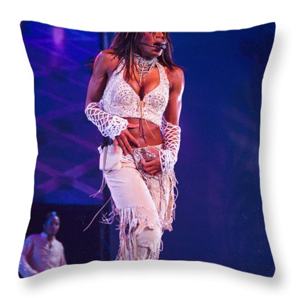 Janet Jackson-01 Throw Pillow by Timothy Bischoff