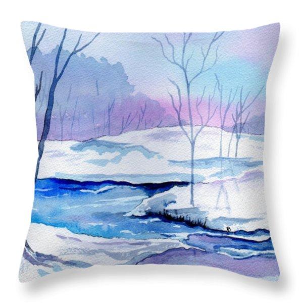 January Snowscape Throw Pillow by Brenda Owen
