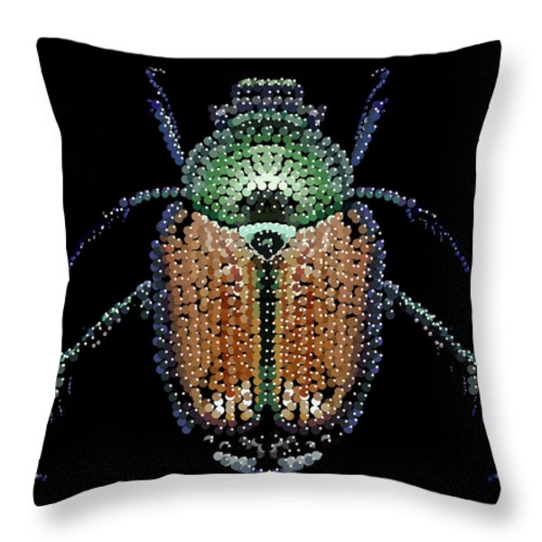 Japanese Beetle Bedazzled Throw Pillow by R  Allen Swezey