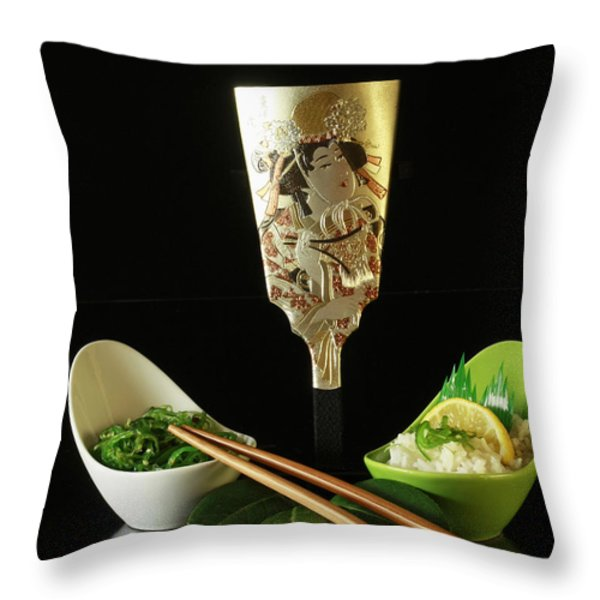 Japanese Fine Dining Throw Pillow by Inspired Nature Photography By Shelley Myke