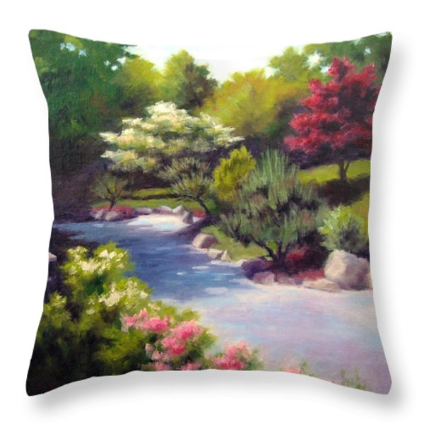 Japanese Garden At Cheekwood Throw Pillow by Janet King