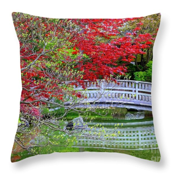 Japanese Garden Bridge In Springtime Throw Pillow by Carol Groenen