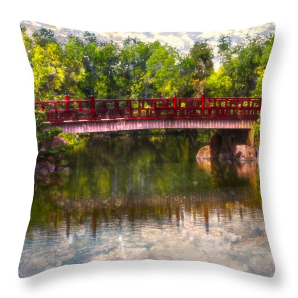 Japanese Gardens Bridge Throw Pillow by Debra and Dave Vanderlaan