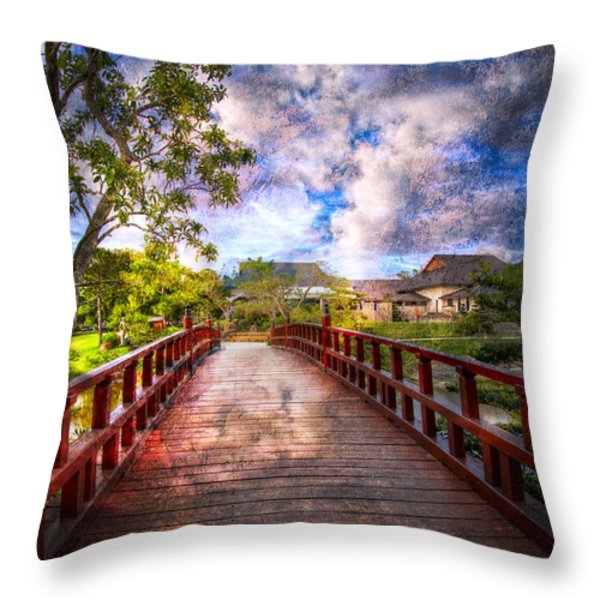 Japanese Gardens Throw Pillow by Debra and Dave Vanderlaan