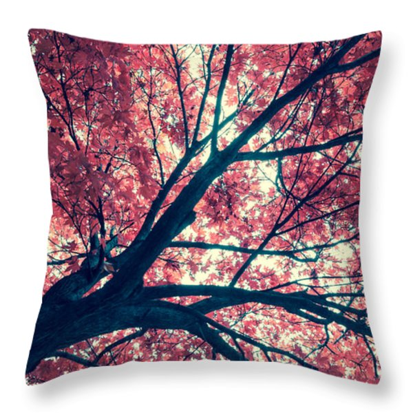 Japanese Maple - Vintage Throw Pillow by Hannes Cmarits