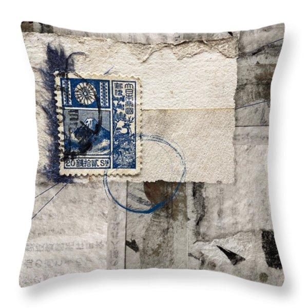 Japanese Postage 20 Sen Throw Pillow by Carol Leigh