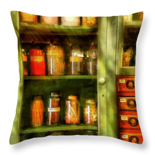Jars - Ingredients II Throw Pillow by Mike Savad