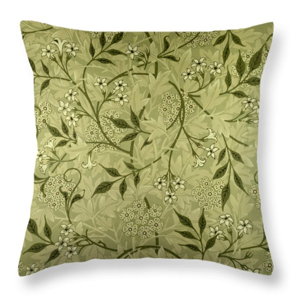 Jasmine wallpaper design Throw Pillow by William Morris