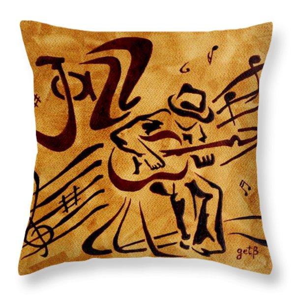 Jazz Abstract Coffee Painting Throw Pillow by Georgeta  Blanaru