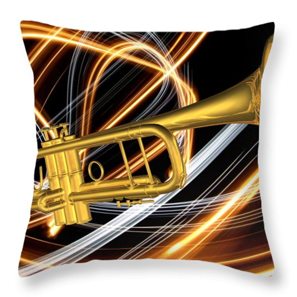 Jazz Art Trumpet Throw Pillow by Louis Ferreira