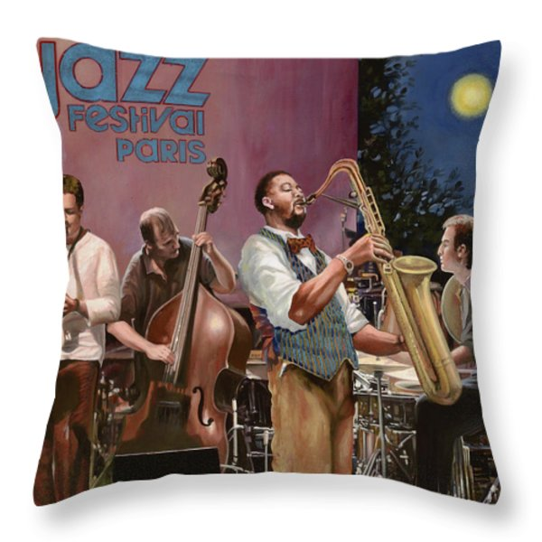 jazz festival in Paris Throw Pillow by Guido Borelli