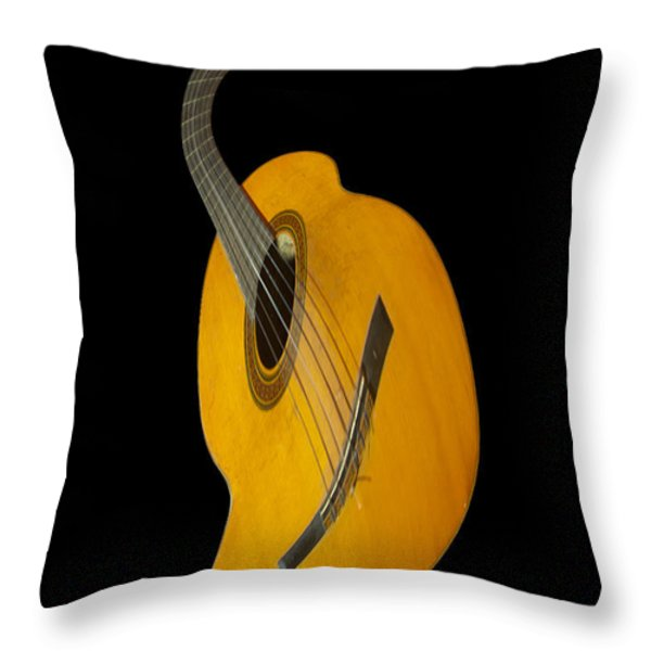 Jazz Guitar Throw Pillow by Debra and Dave Vanderlaan