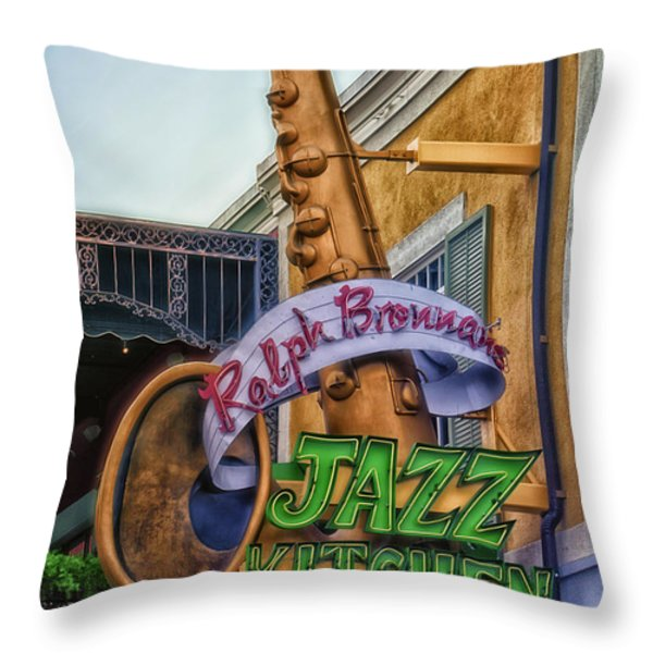 Jazz Kitchen Signage Downtown Disneyland Throw Pillow by Thomas Woolworth
