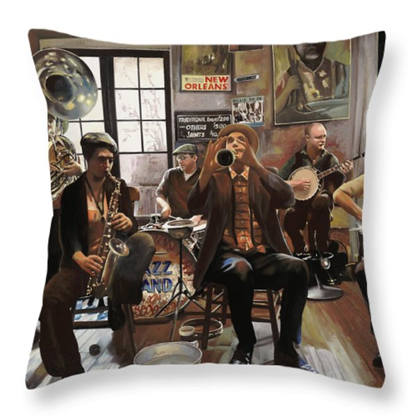 Jazz Orchestra Throw Pillow by Guido Borelli